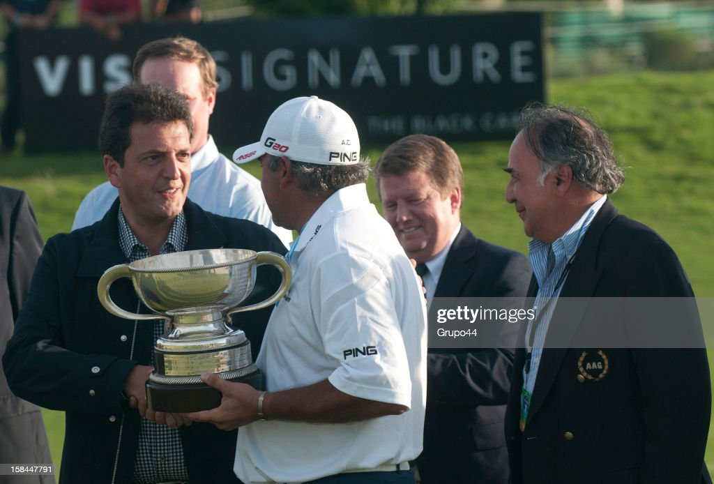 Angel Cabrera of Argentina celebrates after win the final round of tha 107 Visa Golf Open presented by Peugeot as part of the PGA Latin America at...