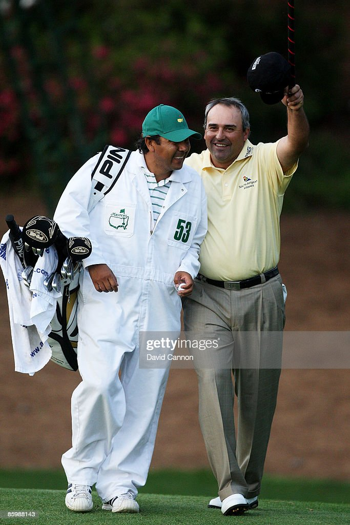 Angel Cabrera of Argentina celebrates with his caddie Ruben Yorio after defeating Kenny Perry on the second sudden death playoff hole to win the 2009 Masters Tournament at Augusta National Golf Club on April 12, 2009 in Augusta, Georgia.