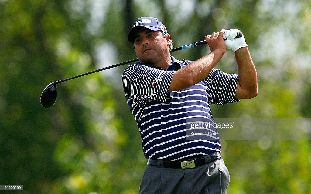 Angel Cabrera of Argentina hits a shot during round one at The Barclays on August 27 2009 at Liberty National in Jersey City New Jersey