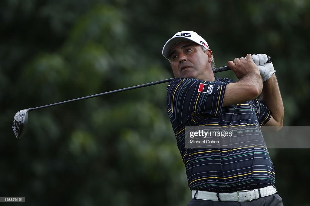 Angel Cabrera of Argentina hits his drive on the 15th hole during the second round of the Puerto Rico Open presented by seepuertorico.com held at Trump International Golf Club on March 8, 2013 in Rio Grande, Puerto Rico.