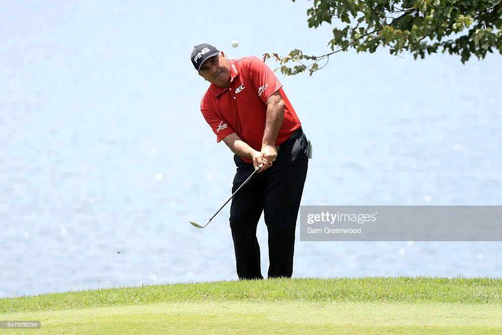 Angel Cabrera of Argentina hits off the eighth hole during the first round of the Barbasol Championship at the Robert Trent Jones Golf Trail at Grand...