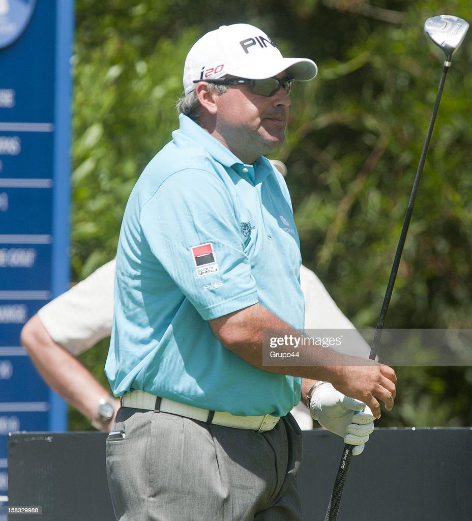 Angel Cabrera of Argentina looks on during the opening day of the 107 Visa Golf Open presented by Peugeot as part of the PGA Latin America at Nordelta Golf Club on December 13, 2012 in Buenos Aires, Argentina.