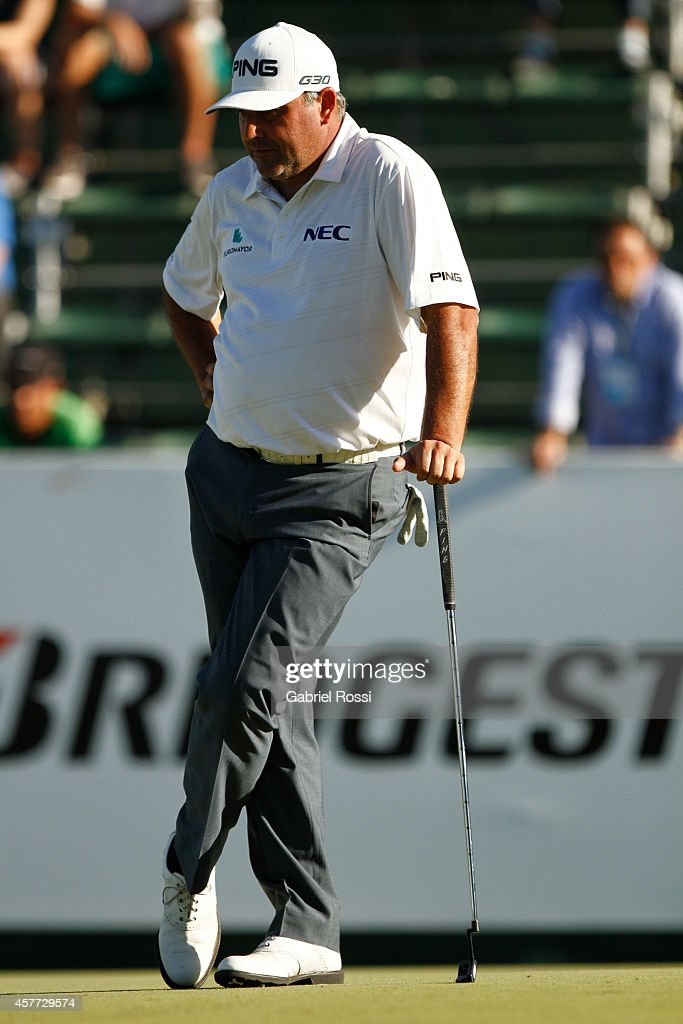Angel Cabrera of Argentina looks on on the 18th hole during the first round of America's Golf Cup as part of PGA Latinoamerica tour at Olivos Golf...