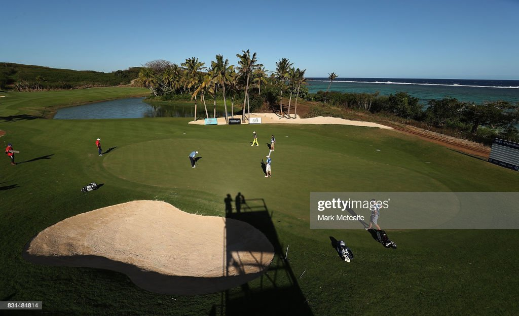 Angel Cabrera of Argentina makes a birdie putt on the 14th hole during day two of the 2017 Fiji International at Natadola Bay Championship Golf Course on August 18, 2017 in Suva, Fiji.