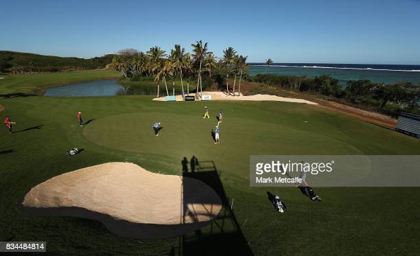 Angel Cabrera of Argentina makes a birdie putt on the 14th hole during day two of the 2017 Fiji International at Natadola Bay Championship Golf...