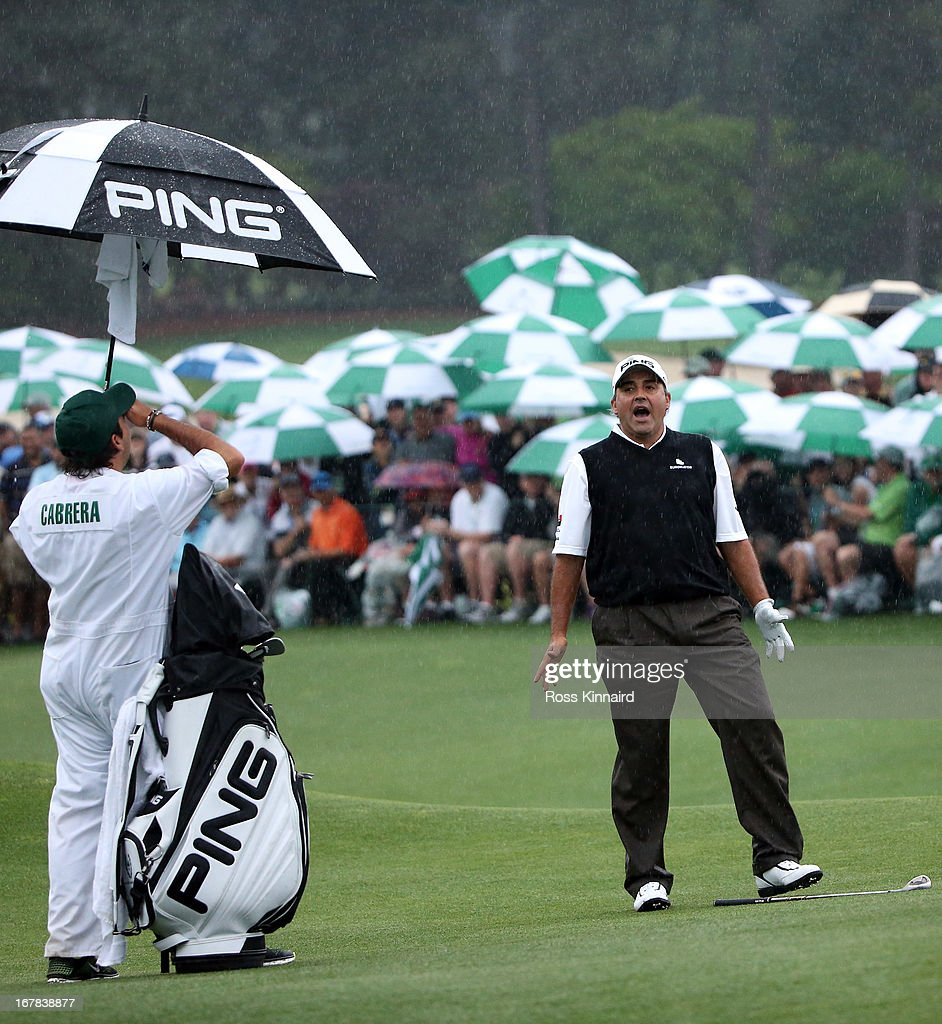 Angel Cabrera of Argentina on the 18th green after the first playoff hole during the final round of the 2013 Masters at the Augusta National Golf...