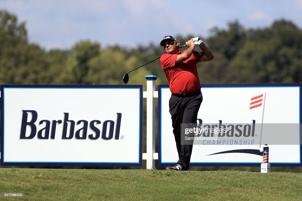 Angel Cabrera of Argentina plays a shot off the eighteenth tee during the first round of the Barbasol Championship at the Robert Trent Jones Golf...