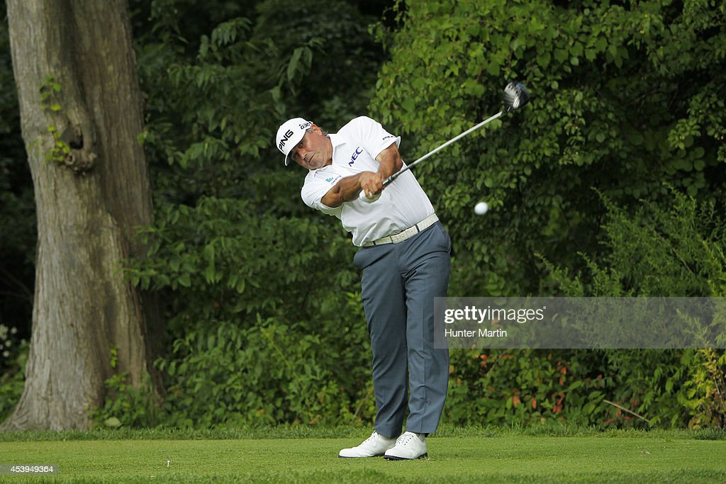 <a gi-track='captionPersonalityLinkClicked' href=/galleries/search?phrase=Angel+Cabrera&family=editorial&specificpeople=204515 ng-click='$event.stopPropagation()'>Angel Cabrera</a> of Argentina plays his shot from the fourth tee during the first round of The Barclays at The Ridgewood Country Club on August 21, 2014 in Paramus, New Jersey.