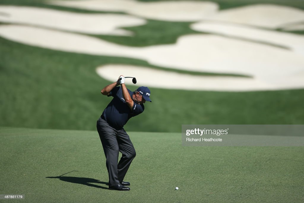 Angel Cabrera of Argentina plays into the 5th green during the second round of the Wells Fargo Championship at the Quail Hollow Club on May 2, 2014 in Charlotte, North Carolina.