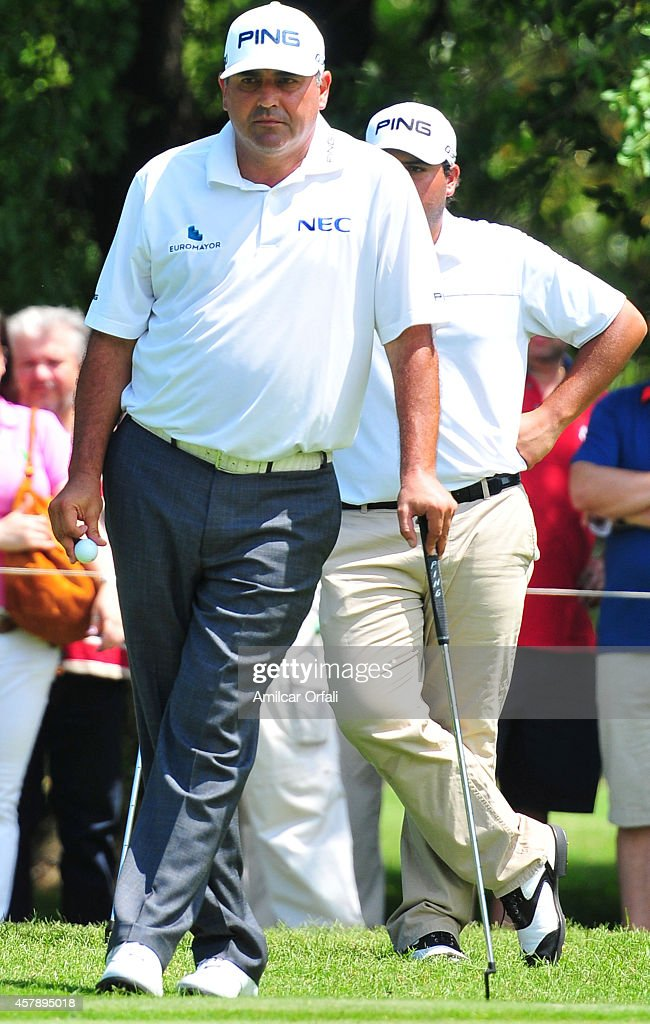 Angel Cabrera of Argentina stands during the final round of the America's Golf Cup as part of PGA Latinoamerica tour at Olivos Golf Club on October...