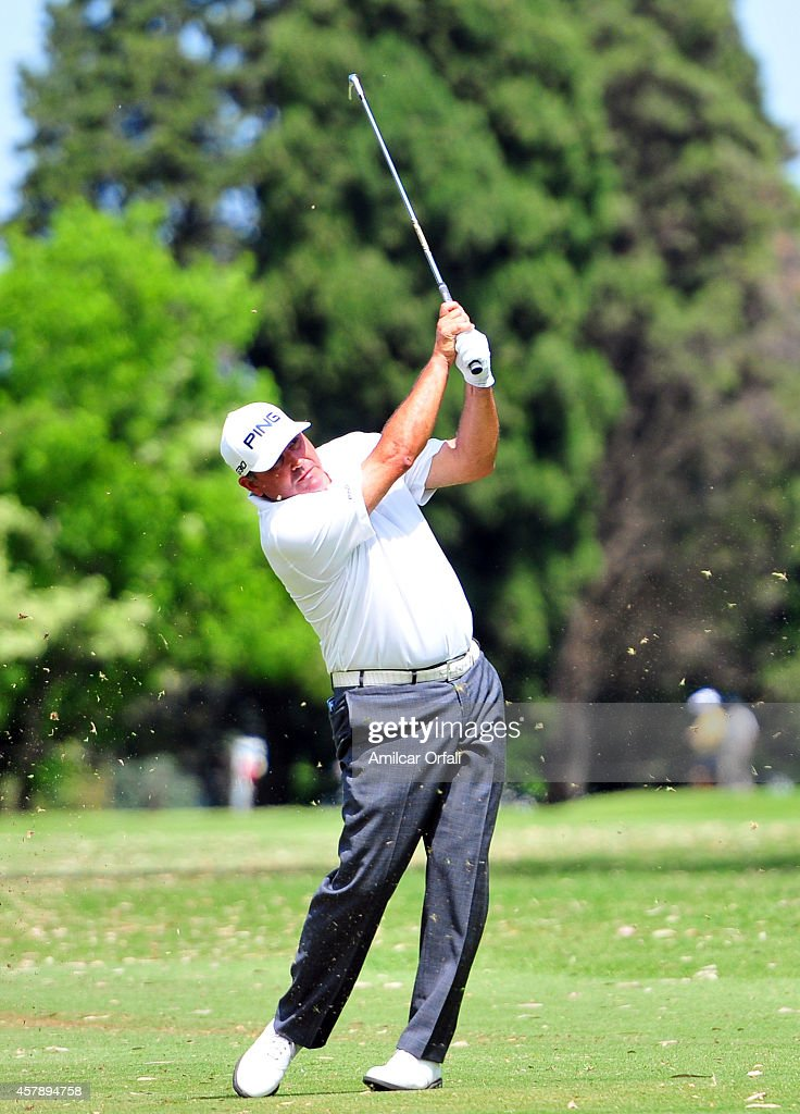 Angel Cabrera of Argentina tees off during the final round of the America's Golf Cup as part of PGA Latinoamerica tour at Olivos Golf Club on October...