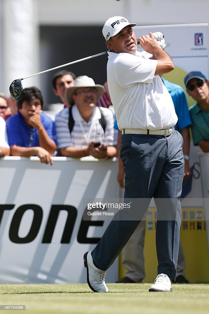 Angel Cabrera of Argentina tees off on the first hole during the first round of America's Golf Cup as part of PGA Latinoamerica tour at Olivos Golf...