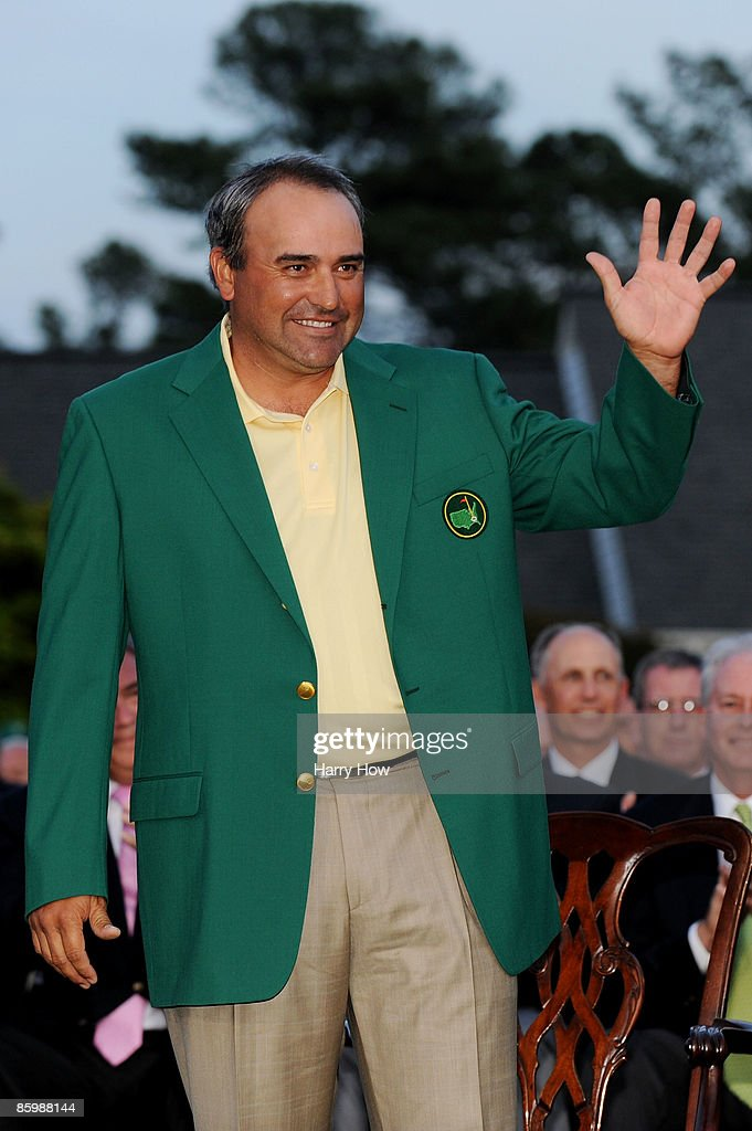 Angel Cabrera of Argentina waves during the green jacket presentation after defeating Kenny Perry on the second sudden death playoff hole to win the 2009 Masters Tournament at Augusta National Golf Club on April 12, 2009 in Augusta, Georgia.