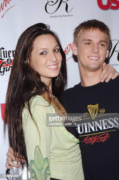 Angel Carter and Aaron Carter during 2005 MTV VMA US Weekly Party Hosted By Jessica Alba at Sagamore in Miami Florida United States