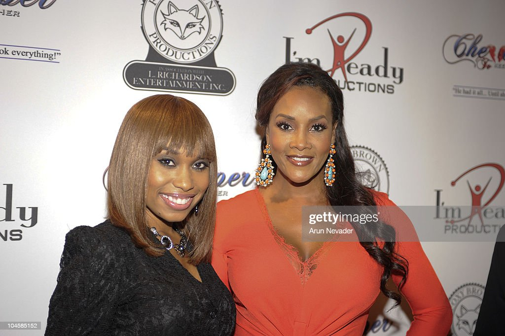 Angel Conwell and actor <a gi-track='captionPersonalityLinkClicked' href=/galleries/search?phrase=Vivica+A.+Fox&family=editorial&specificpeople=201901 ng-click='$event.stopPropagation()'>Vivica A. Fox</a> appear at the <a gi-track='captionPersonalityLinkClicked' href=/galleries/search?phrase=Vivica+A.+Fox&family=editorial&specificpeople=201901 ng-click='$event.stopPropagation()'>Vivica A. Fox</a> & Brian McKnight Performance of 'Cheaper To Keep Her' At The Wiltern Theatre on September 30, 2010 in Los Angeles, California.