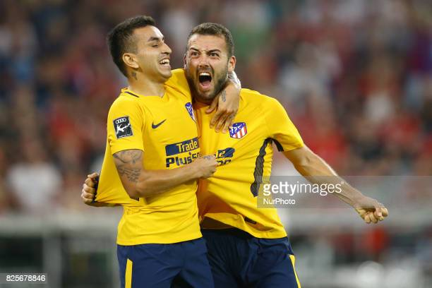 Angel Correa and Keidi Bare of Atletico de Madrid celebration after the goal scored during the Audi Cup 2017 match between Liverpool FC and Atletico...