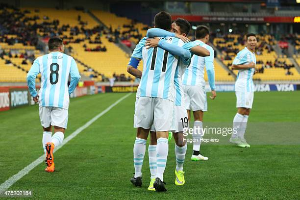 Angel Correa of Argentina celebrates his goal with teammate Emiliano Buendia during the Group B FIFA U20 World Cup New Zealand 2015 match between...