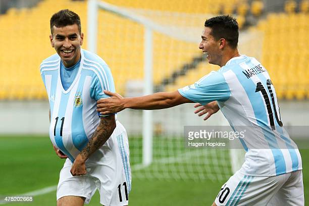 Angel Correa of Argentina celebrates his goal with Tomas Martinez during the Group B FIFA U20 World Cup New Zealand 2015 match between Argentina and...