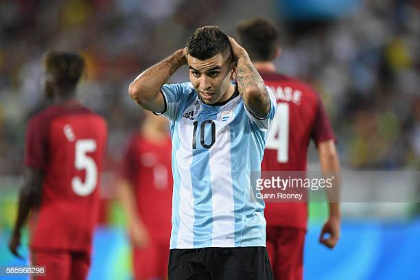 Angel Correa of Argentina reacts during the Men's Group D first round match between Portugal and Argentina during the Rio 2016 Olympic Games at the...