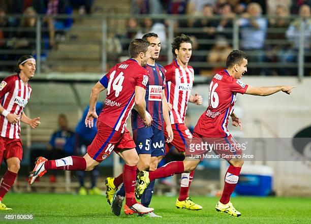 Angel Correa of Atletico de Madrid celebrates after scoring during the La Liga match between SD Eibar andÊAtletico de MadridÊat Ipurua Municipal...