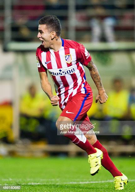 Angel Correa of Atletico de Madrid celebrates after scoring during the La Liga match between SD Eibar andÊAtletico de MadridÊat Ipurua Municipal...
