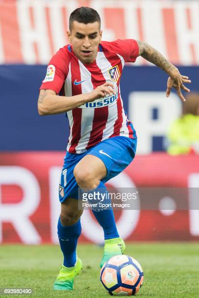 Angel Correa of Atletico de Madrid in action during the La Liga match between Atletico de Madrid and Athletic de Bilbao at the Estadio Vicente...