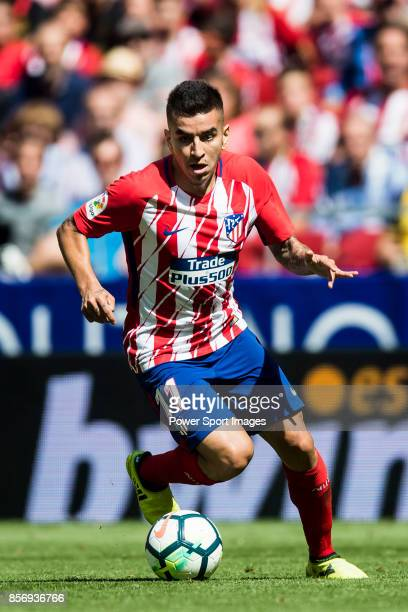 Angel Correa of Atletico de Madrid in action during the La Liga 201718 match between Atletico de Madrid and Sevilla FC at the Wanda Metropolitano on...