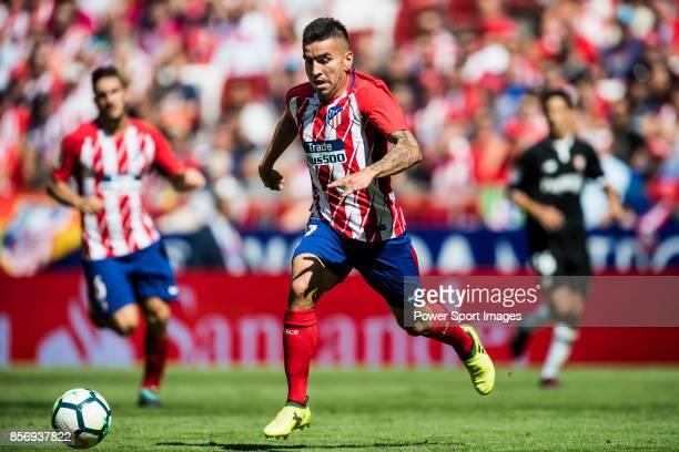 Angel Correa of Atletico de Madrid in action during the La Liga 201718 match between Atletico de Madrid and Sevilla FC at the Wanda Metropolitano on...