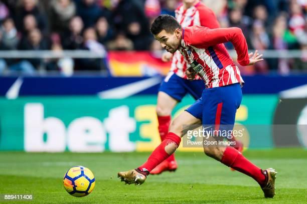 Angel Correa of Atletico de Madrid in action during the La Liga 201718 match between Atletico de Madrid and Real Sociedad at Wanda Metropolitano on...