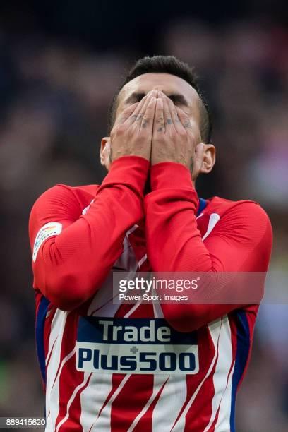 Angel Correa of Atletico de Madrid reacts during the La Liga 201718 match between Atletico de Madrid and Real Sociedad at Wanda Metropolitano on...