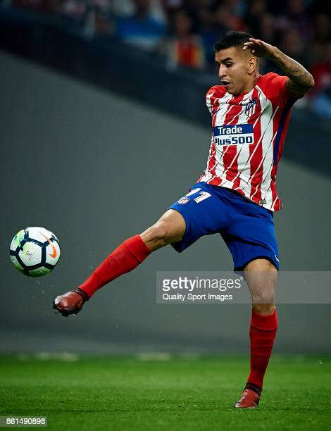 Angel Correa of Atletico Madrid in action during the La Liga match between Atletico Madrid and Barcelona at Estadio Wanda Metropolitano on October 14...