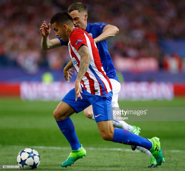 Angel Correa of Atletico Madrid in action during the UEFA Champions League Quarter Final first leg match between Club Atletico de Madrid and...