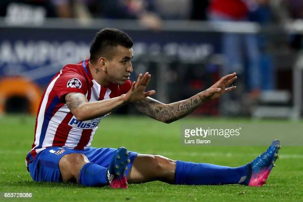 Angel Correa of Atletico reacts during the UEFA Champions League Round of 16 second leg match between Club Atletico de Madrid and Bayer Leverkusen at...