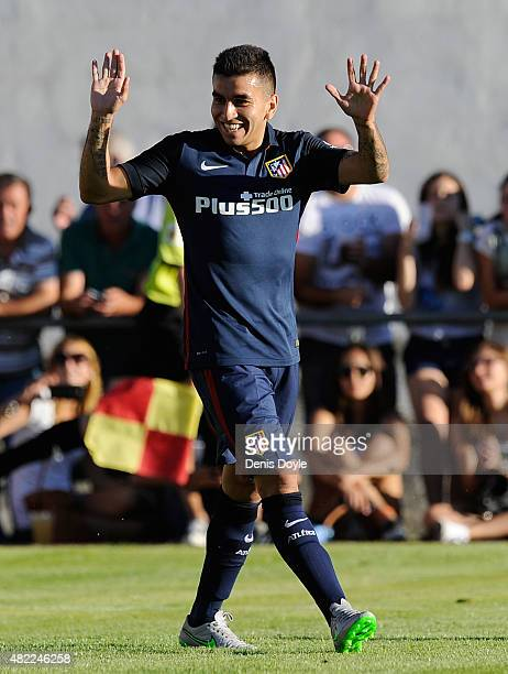 Angel Correa of Club Atletico de Madrid celebrates after scoring his team's 2nd goal during the Jesus Gil y Gil Memorial preseason friendly match...