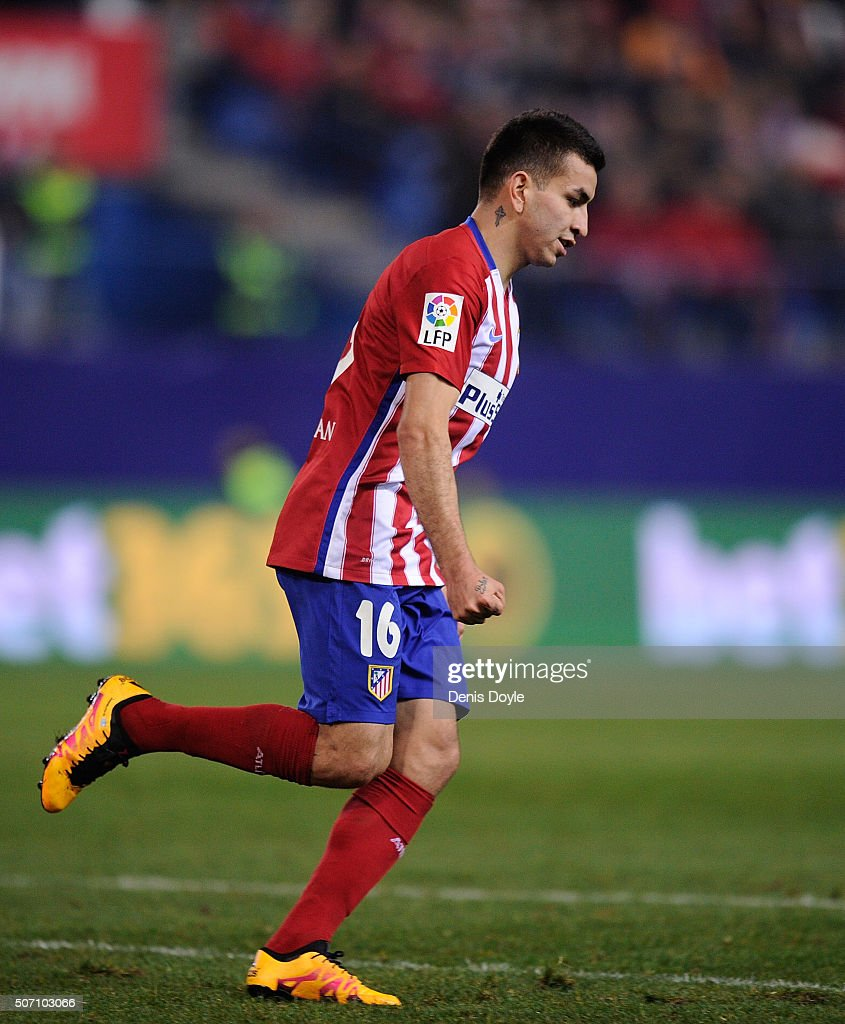 Angel Correa of Club Atletico de Madrid celebrates after scoring his team's 2nd goal during the Copa del Rey Quarter Final 2nd Leg match between Club Atletico de Madrid and Celta Vigo at Vicente Calderon Stadium on January 27, 2016 in Madrid, Spain.