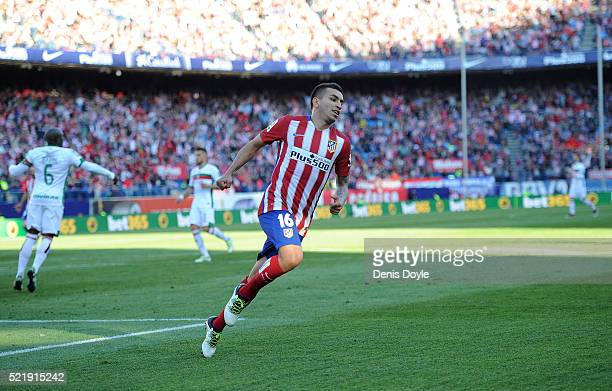 Angel Correa of Club Atletico de Madrid celebrates after scoring his team's 3rd goal during the La Liga match between Club Atletico de Madrid and...