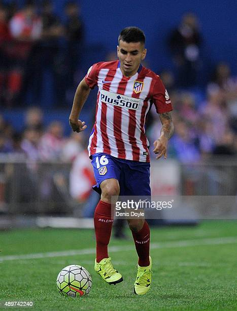 Angel Correa of Club Atletico de Madrid in action during the La Liga match between Atletico de Madrid and Getafe at Vicente Calderon Stadium on...