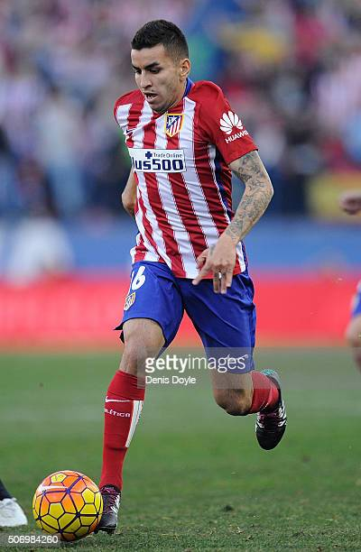 Angel Correa of Club Atletico de Madrid in action during the La Liga match between Club Atletico de Madrid and Sevilla FC at Vicente Calderon Stadium...