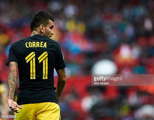 Angel Correa of Club Atletico de Madrid looks on during the match between Sevilla FC vs Club Atletico de Madrid as part of La Liga at Estadio Ramon...