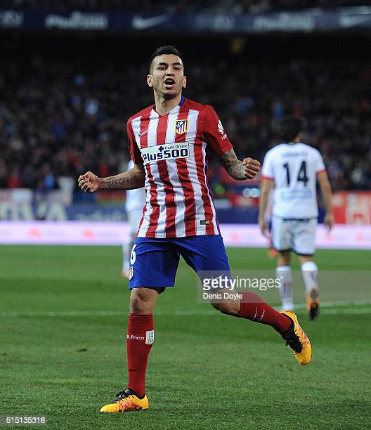 Angel Correa of Club Atletico de Madrid selebrates after scoring his team's 3rd goal during the La Liga match between Club Atletico de Madrid and RC...