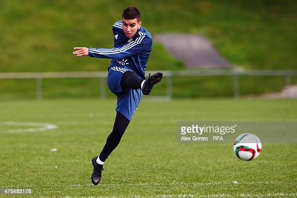 Angel Correa shoots the ball during an Argentina U20s training session at Porirua Park on June 1 2015 in Wellington New Zealand