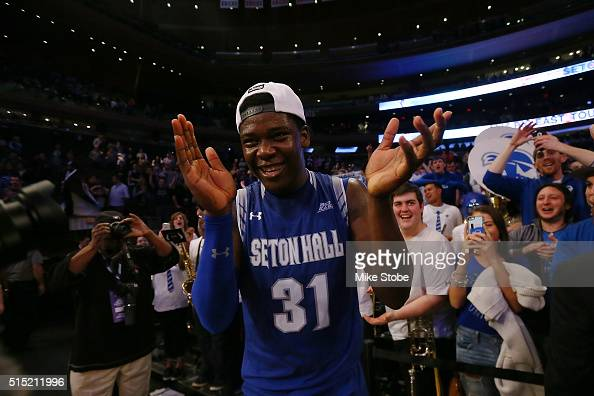 Angel Delgado of the Seton Hall Pirates celebrates after defeating the Villanova Wildcats to win the Big East Basketball Tournament Championship at...