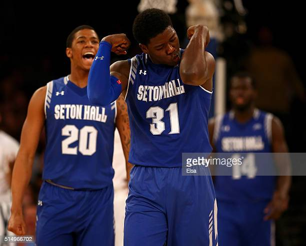 Angel Delgado of the Seton Hall Pirates celebrates in the second half against the Xavier Musketeers during the semifinals of the Big East Basketball...
