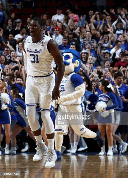 Angel Delgado of the Seton Hall Pirates celebrates the win over the Creighton Bluejays on February 15 2017 at Prudential Center in Newark New...