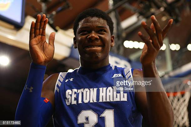Angel Delgado of the Seton Hall Pirates reacts against the Villanova Wildcats during the Big East Basketball Tournament Championship at Madison...
