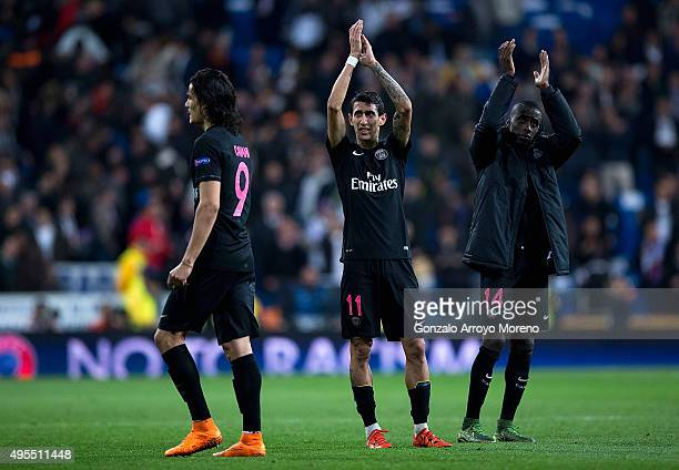 Angel Di Maria and Blaise Matuidi of PSG applaud the crowd after the UEFA Champions League Group A match between Real Madrid CF and Paris...