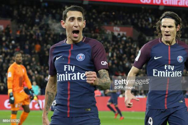Angel Di Maria and Edinson Cavani during the French Ligue 1 soccer match between Paris Saint Germain and Lille at Parc des Princes