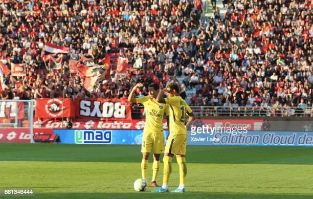 Angel Di Maria and Neymar Jr of Paris SaintGermain in action during the Ligue 1 match between Dijon FCO and Paris Saint Germain at Stade GastonGerard...