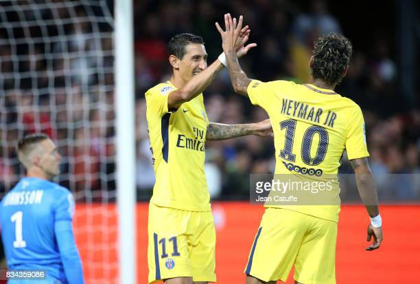 Angel Di Maria and Neymar Jr of PSG celebrate the first goal during the French Ligue 1 match between En Avant Guingamp and Paris Saint Germain at...