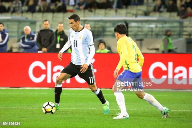 Angel Di Maria dribbling with the ball as Brazil Vs Argentina in the Chevrolet Brasil Global Tour on June 9 2017 in Melbourne Australia Chris Putnam...